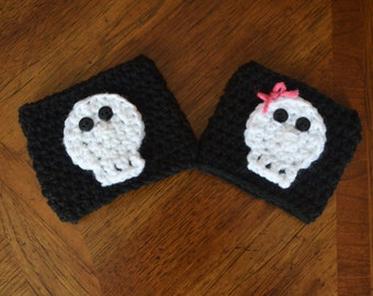 Skull Coffee Cup Cozy - Skull Cozie - Rocker Coozie - Punk