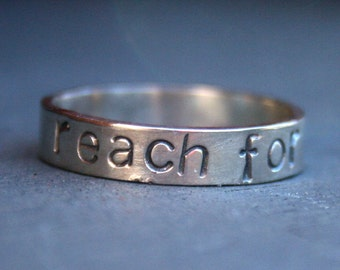 Personalized Jewelry - Personalized Sterling Silver Message Ring - Reach for the Stars