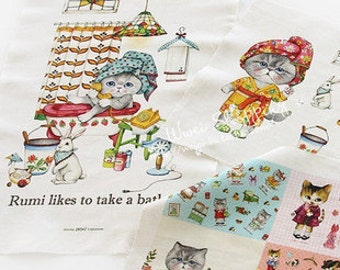 LF997 - Linen Cotton Blended Fabric - Lovely Cats - Bath -  One  Panel(140cmx40cm)