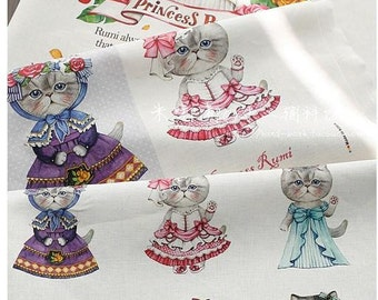 LF996 - Linen Cotton Blended Fabric - Lovely Cats - Princess Rumi -  One  Panel(140cmx40cm)
