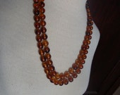 Vintage Double Strand Amber Colored Beaded Necklace
