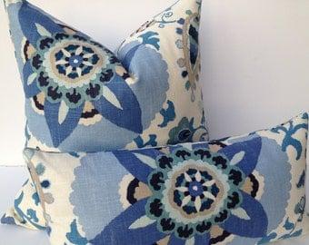 Floral Decorative Pillow Cover 20X20 Home Decor Fabric-Throw Pillow-Blue-Accent Pillow-Living Room Pillow-Toss Pillow