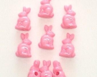 24 Pink Bunny Beads