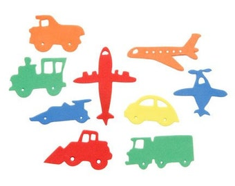 60 Foam Trains, Planes & Automobile Foam Shapes - Self Adhesive