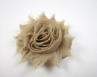 Tan Flower Hair Bow - Shabby Flower Hair Bow - Shabby Chiffon Hair Clip - Tan - Light Brown Hair Bow