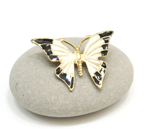 Vintage Butterfly Brooch  Enamel Black and White  1970 sVintage Butterfly Black And White