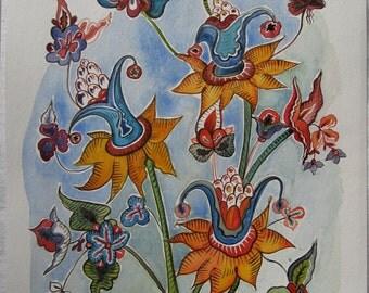 Flowers No.3. Original watercolor hand painted.