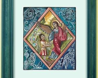 "The power of prayer no.3. ""Guardian Angel"" - original watercolor handmade painted"