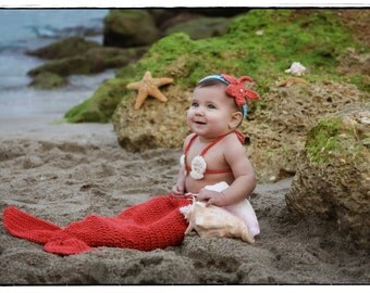 Crochet Mermaid Tail, Photo Prop Set - Coral/Pumpkin color , 9 months - 12 months, Photography Prop, Cocoon,