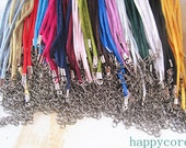 50pcs 17-19 inch  2mm  (17color)  Mixed color satin necklace cord with lobster clasp