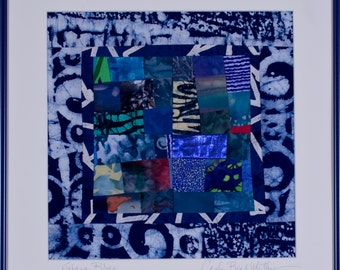 SALE/ Framed Abstract Art Quilt: GHANA BLUES