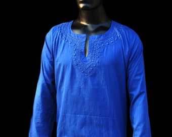 Man tunic shirt gift for him blue kurta pattern cotton dress plus size clothing ethnic tribal fabric salwar kameez birthday gift for him