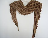 knitted triangle scarf multicolor brown