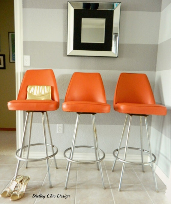 Vintage Chrome Amp Orange Vinyl Bar Stools By By