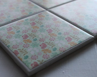 Spring Flower Coasters Four Piece Ceramic Tile Set