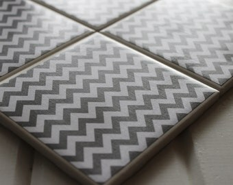 Grey Chevron Four Piece Ceramic Tile Coaster Set
