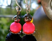 Lava Rock and Neon Pink Swarovski...Sterling silver hooks..