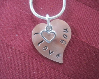 Stamped heart necklace
