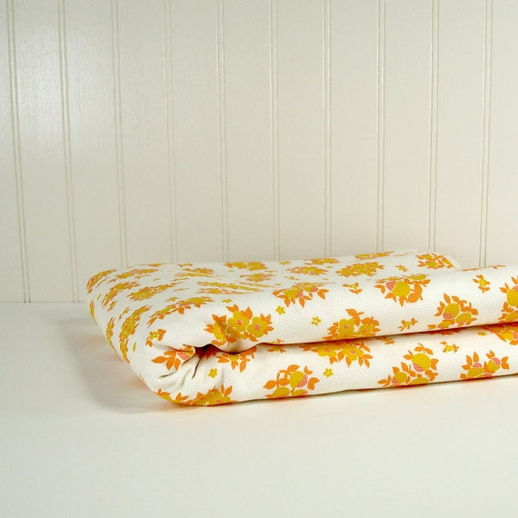 Mid-Century Fabric - Orange and Yellow Floral Print