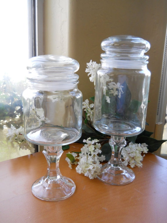 Apothecary pedestal candy jars wedding candy bar by cyndalees