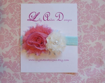 Coral and cream shabby flower headband/ Newborn headband/ Girls headband