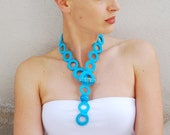Statement necklace, fashion necklaces, turquoise, blue modern necklace, crochet necklace, statement jewelry by Aliquid