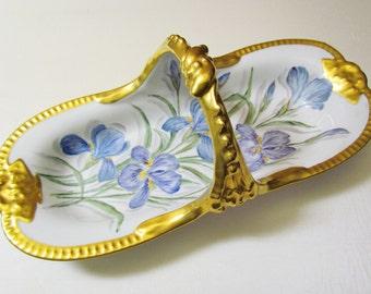Hand painted Limoges china basket with irises, T & V Limoges artist signed large porcelain basket