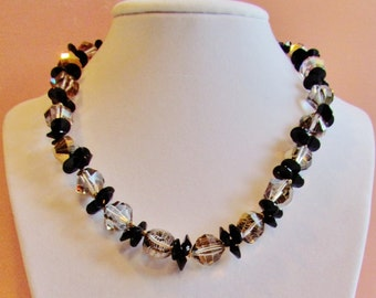 Vintage gold and black necklace by Vendome, c.1960's vintage crystal bead necklace