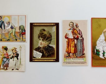 Victorian trade cards, lot of 5 humorous cards from the late 1800's