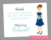Will You Be My Bridesmaid Card - Personalized Bridal Party Printed Note Card - Colors Customizable