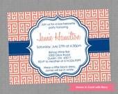 Printable Bachelorette Party Invitation - Bachelorette Themed Greek Keys Invite - Colors and Text Customizable