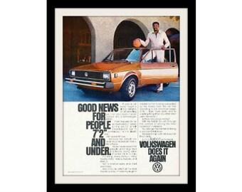 1979 VW Rabbit & Wilt Chamberlian Basketball Car Ad, Vintage Advertisement Print