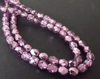 Czech Glass Beads, Purple Violet 6mm Firepolished Beads - 25 beads