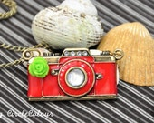 Camera Necklace - Red Camera Long Necklace with Bright Green Rosette - Antique Bronze Chain Necklace
