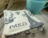 Paris Coaster - Fabric Coaster - Mug Rug - Set of Four
