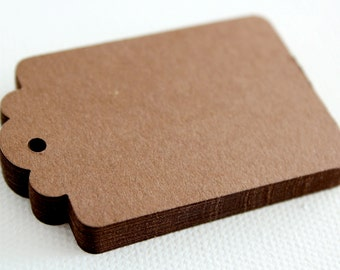 50 DARK BROWN Hang Tag, Gift Tag, Price Tag Die cuts punches cardstock 2.25X1.5 inch -Scrapbook, cards