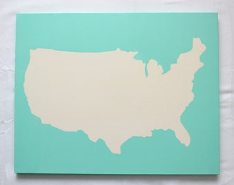 United States DIY Customize Map -16X20 Canvas Acrylic Painting, Wall Art, Decor Mint Green