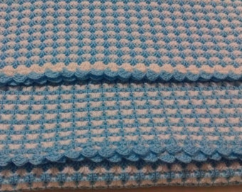 Blue- White Baby Blanket - Big Blanket