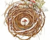 mushroom woodland trio nest watercolor painting original
