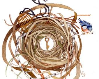 bluebird gilded cage nest original painting illustration