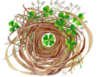 shamrock lucky charm nest watercolor painting