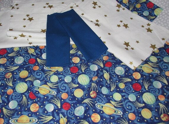 Stars solar system themed fabric 5 pcs by harmoneescreations for Solar system fabric
