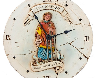Patron Saint of Cooking Kitchen Wall Clock