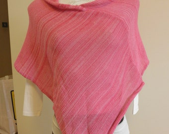 Pink shades poncho,shawl,cotton yarn,accessory,for woman
