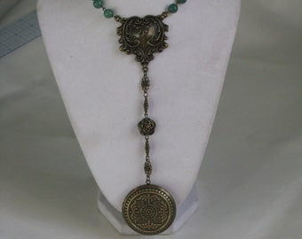 Huge Jade and Bronse-tone Rosary Locket - Steampunk