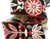 "Woven Jacquard Ribbon - Mixed Pinwheel Zinnia 1 7/8"" x 3 yards Black, Red, Gray and Cream MP6 - LesBonRibbon"