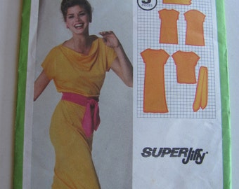 1980's Sewing Pattern - Simplicity 9348 Pullover Dress with tied belt  Size 14 Uncut, Factory Folded