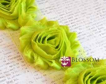 1/2 or 1 YARD Increment - LIME GREEN - Chiffon Shabby Rose Trim - Headband Flowers