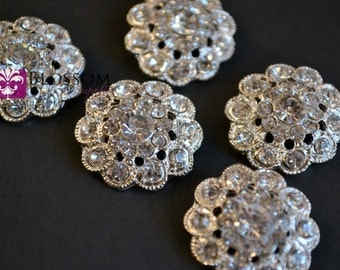 Metal Rhinestone Buttons Crystal Clear with Loop 22mm - Flower Centers - Wedding Bridal Prom - Wholesale Jewels Clear Stones Sparkle