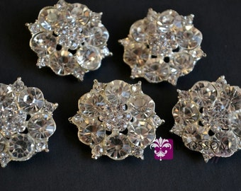 Metal Rhinestone Buttons Crystal Clear with Loop 28mm  - Flower Centers - Wedding Bridal Prom Jewels Clear Stones Sparkle Wholesale Supply
